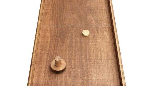 TABLE A GLISSER location jeux en bois 91 Essonne, 75 Paris, 94 Val de Marne - NB DE JOUEURS : 2 - PRINCIPE : Mettre le palet dans le camp de l'adversaire tout en protégeant ses buts - DIMENSION : 122 x 51 cm